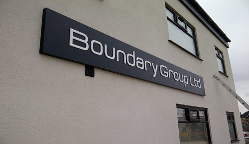 Boundary Group folded tray sign