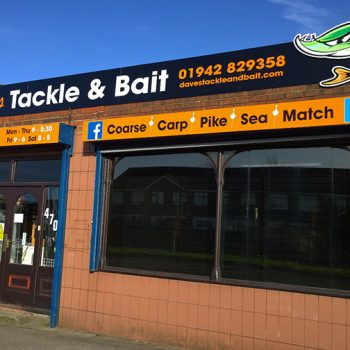 Daves Tackle and Bait Wigan External Signage with pop off fish