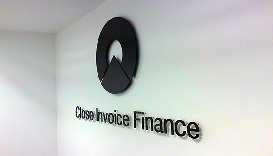 Close Invoice Finance internal office sign