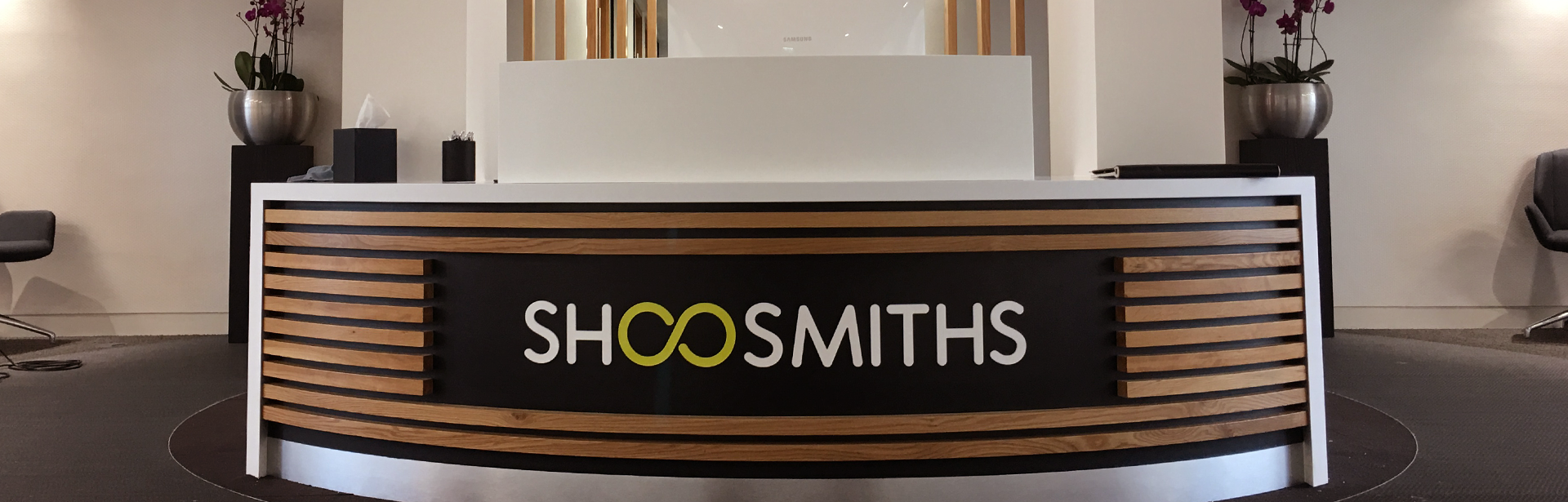 Shoosmiths Stand Off Reception Desk Sign