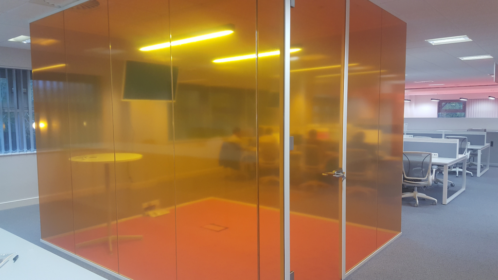 Orange translucent vinyl cube