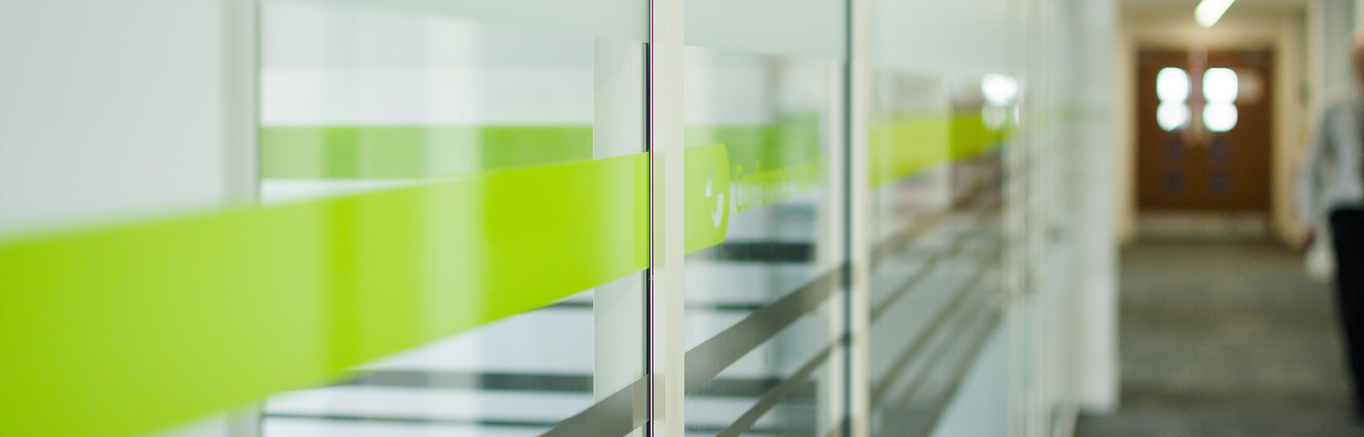 Frosted glass vinyl with green translucent stripes