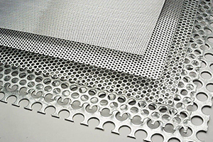 Metal sheeting with perforated holes