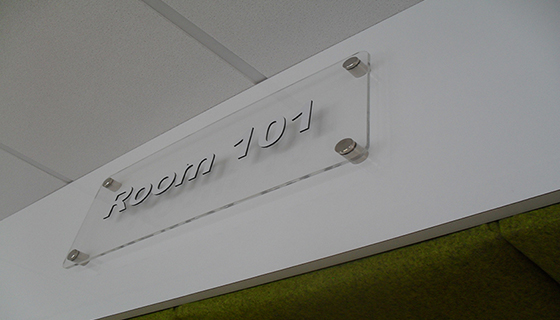 Room 101 perspex sign