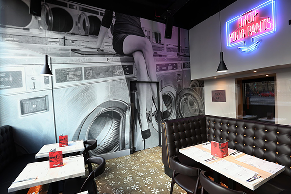 Printed wallpaper supplied and fitted in Newcastle for The Laundrette