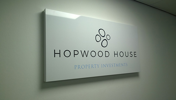Internal illuminated folded tray panel for Hopwood House