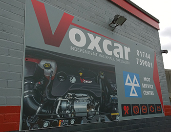 External signs for Voxcars in St Helens